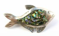 Vintage Dainty Sterling Silver And Abalone Shell Mexican Fish Brooch.